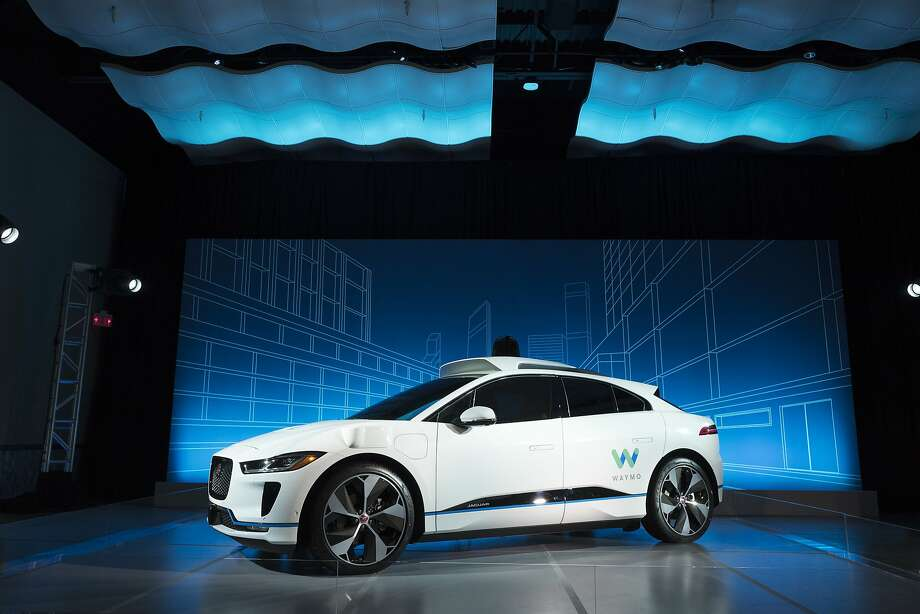 A Jaguar I-Pace vehicle outfitted with Waymo's suite of sensors and radar is introduced in New York last year. Waymo said this week it will bring a factory to Michigan. Photo: Mark Lennihan / Associated Press 2018