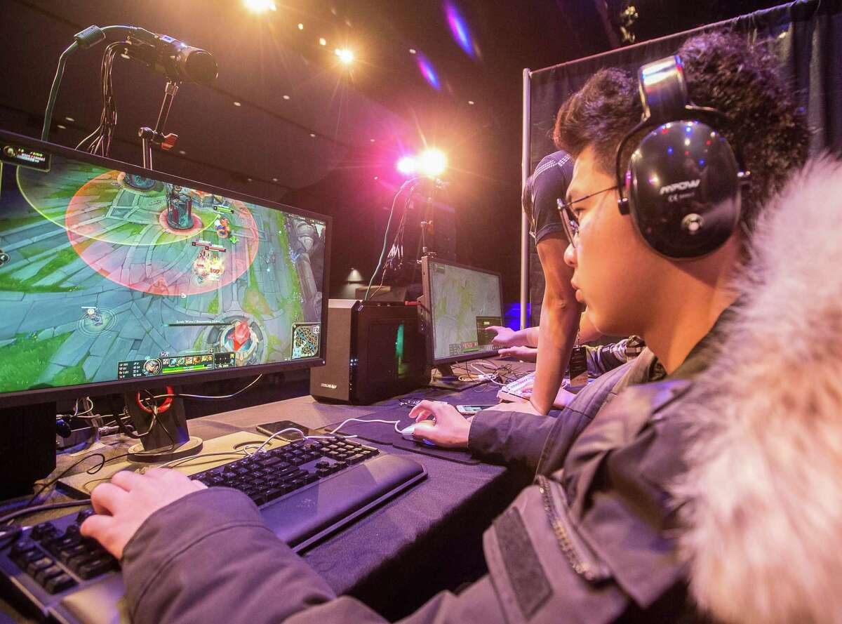 Woodstock Academy's Jiacheng Ying competes in the CIAC eSports championship on Tuesday in Meriden.