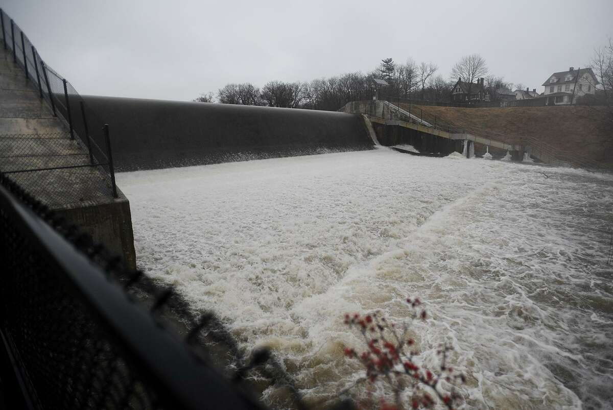 FILE PHOTO of the Beardsley Park dam on the Pequonnock River in Bridgeport, Conn. on Thursday, January 24, 2019.
