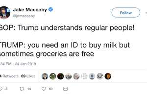 Twitter reaction to President Trump's comments on grocery stores and the government shutdown.