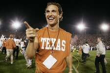 PASADENA, CA - JANUARY 01: Actor Matthew McConaughey celebrates on the field after the Texas Longhorns defeated the Michigan Wolverines in the 91st Rose Bowl Game at the Rose Bowl on January 1, 2005 in Pasadena, California. Texas defeated Michigan 38-37. (Photo by Donald Miralle/Getty Images)