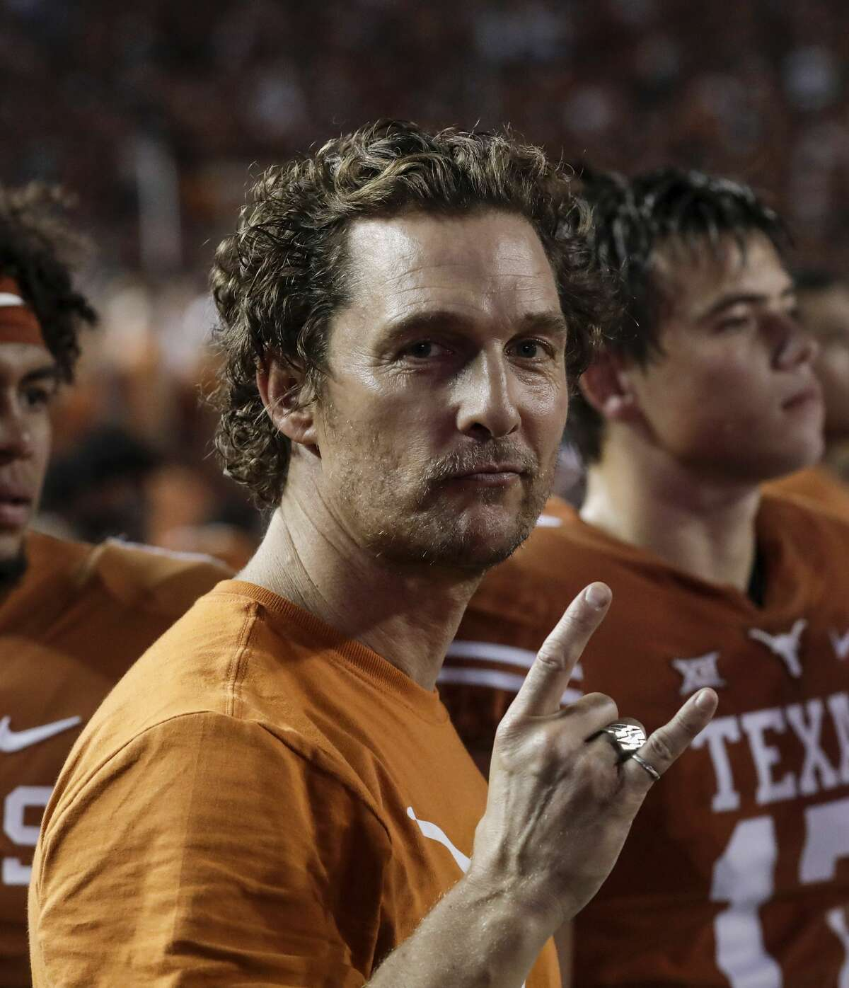 AUSTIN, TX - SEPTEMBER 15: Actor and Texas fan Matthew McConaughey stands on the sideline during the game between the Texas Longhorns and the USC Trojans at Darrell K Royal-Texas Memorial Stadium on September 15, 2018 in Austin, Texas. (Photo by Tim Warner/Getty Images)