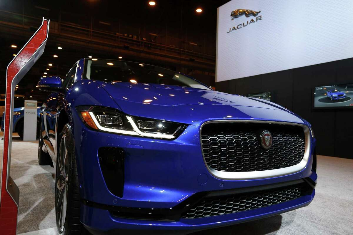 A Jaguar I-Pace electric car on display at the Houston Auto Show on Thursday, Jan. 24, 2019, in Houston.