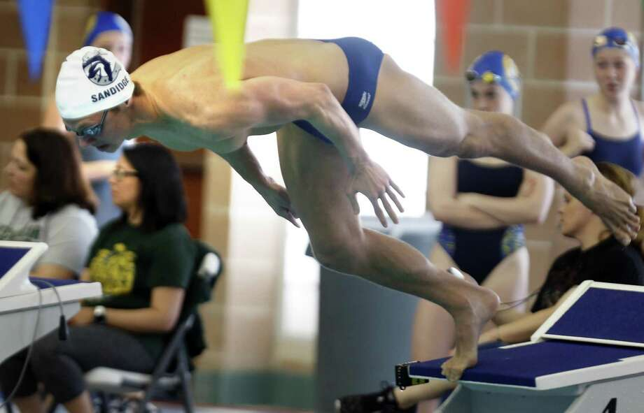 Boerne Champion's Logan Sandidge captured the 50 freestyle and 100 backstroke and was voted outstanding boys swimmer. Photo: Ronald Cortes /Contributor / / 2019 Ronald Cortes
