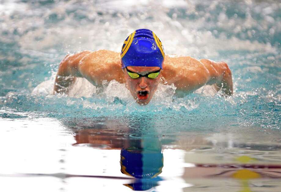 Alamo Heights' Andrew Crosley competing in the 100 yard Butterfly from the District 28-5A swimming championships.on Thursday, January 24, 2019 at Davis Natatorium Photo: Ronald Cortes/Contributor / 2019 Ronald Cortes