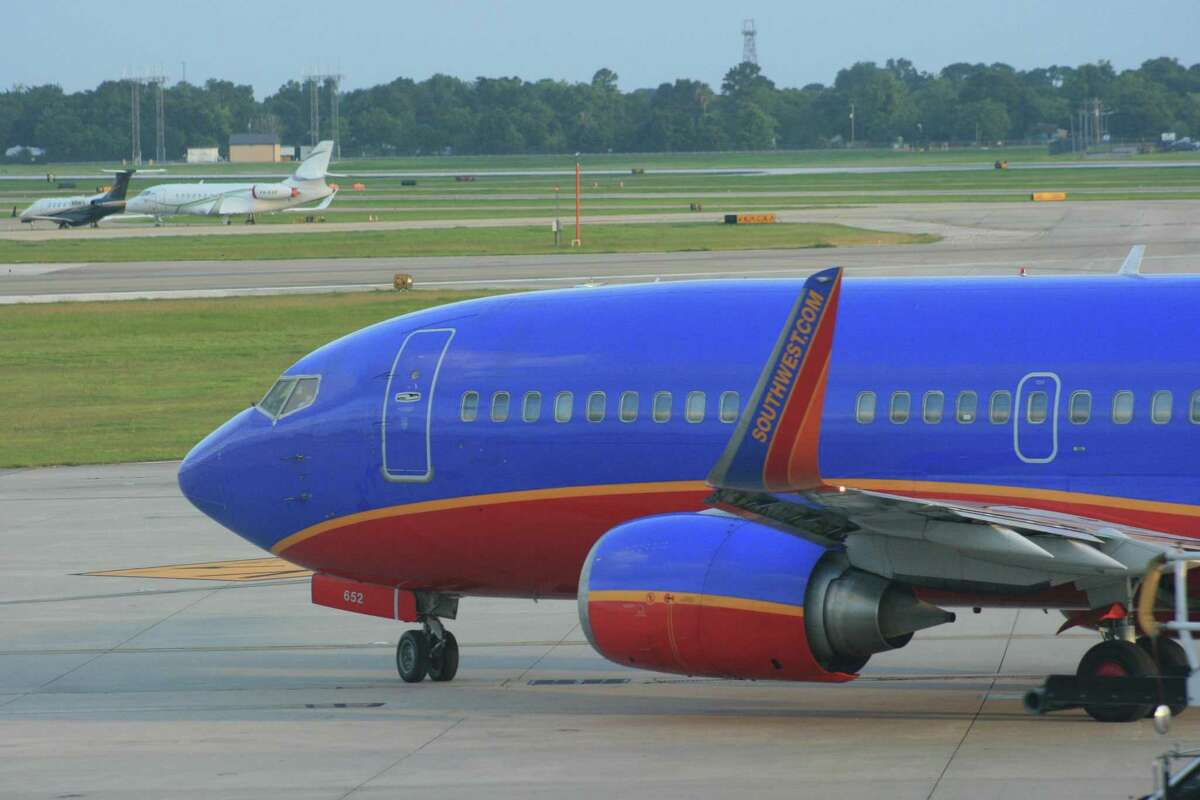A Southwest Airlines Boeing 737 taxis at Hobby Airport in May 2016.