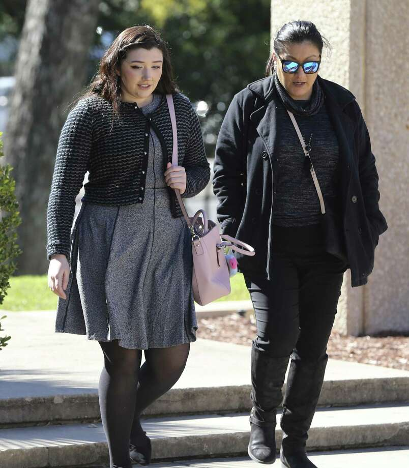 "Sydney Elizabeth Faris (left) is one of two women accused of spray-painting graffiti on the San Antonio missions and appears before federal court to plead guilty Thursday, Jan. 24, 2019. Fritz and Sydney Farris have signed plea deals, while a third suspect is to plead guilty next week. They allegedly spray painted several things, including ""I don't care. Do you?"" (Kin Man Hui/San Antonio Express-News) Photo: Kin Man Hui, Staff Photographer / San Antonio Express-News / ©2019 San Antonio Express-News"