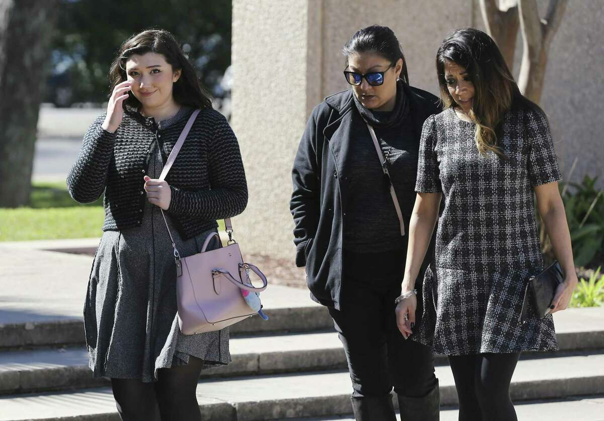 Sydney Elizabeth Faris (left) is one of two women accused of spray-painting graffiti on the San Antonio missions and appears before federal court to plead guilty Thursday, Jan. 24, 2019. Fritz and Sydney Farris have signed plea deals, while a third suspect is to plead guilty next week. They allegedly spray painted several things, including