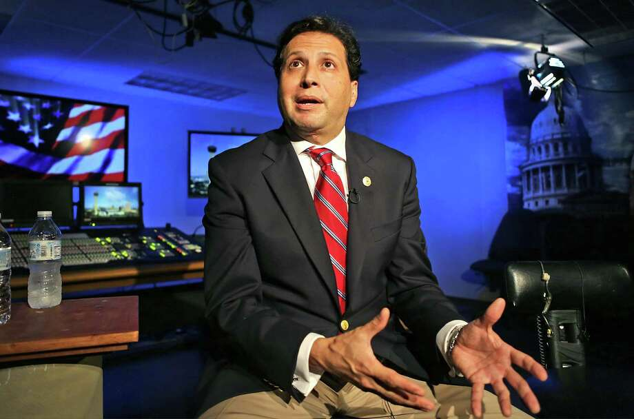 State Rep. Poncho Nevarez, D-Eagle Pass prepares to be interviewed by CNN from the KLRN Studios, on Tuesday, May 30, 2017. The interview focuses on State Rep. Matt Rinaldi, R-Irving, and his comment that he had called immigration officials about protestors in the Texas House Gallery. Photo: Bob Owen, Staff / San Antonio Express-News / ©2017 San Antonio Express-News