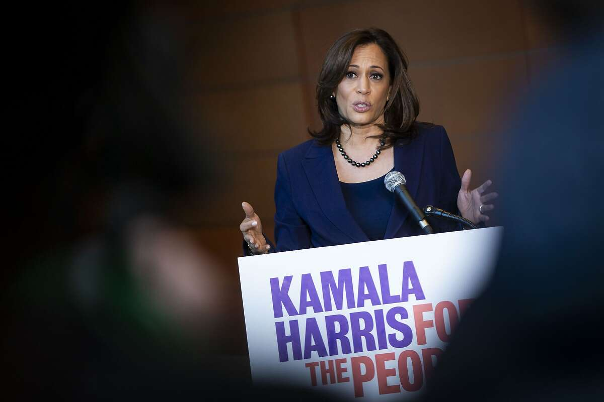 WASHINGTON, DC - JANUARY 21: U.S. Sen. Kamala Harris (D-CA) speaks to reporters after announcing her candidacy for President of the United States, at Howard University, her alma mater, on January 21, 2019 in Washington, DC. Harris is the first African-American woman to announce a run for the White House in 2020. (Photo by Al Drago/Getty Images) *** BESTPIX ***