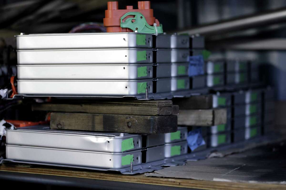 Recycled Nissan Motor Co. Leaf batteries. Energy Secretary Rick Perry earlier this month said he would put more federal money into developing processes to recycle the raw materials used to make lithium-ion batteries.