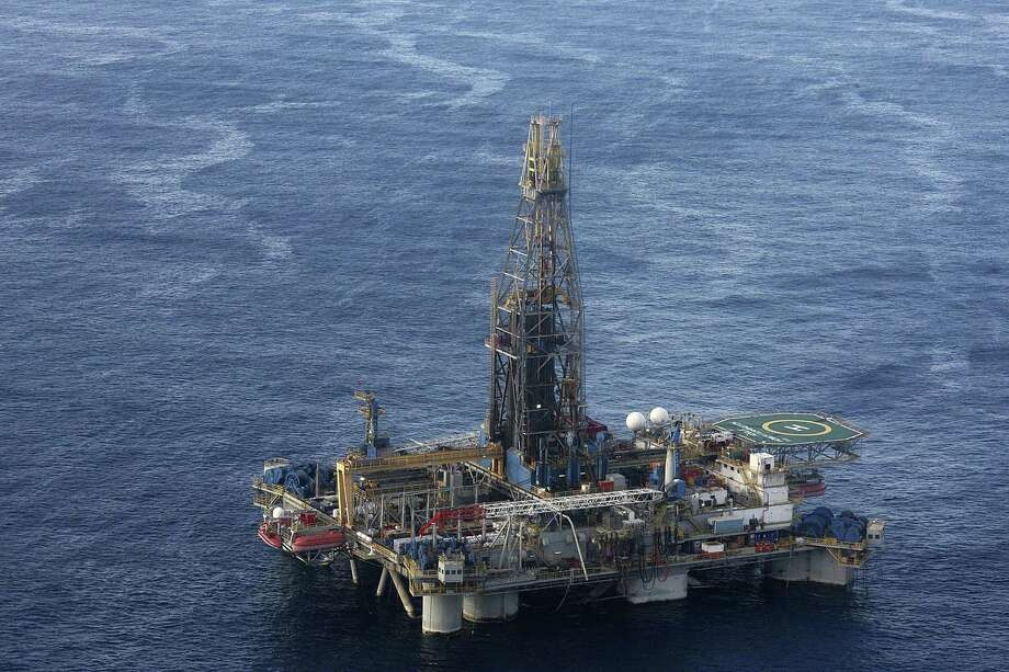 A Noble Energy drilling rig off the coast of Cyprus. The Houston oil and gas producer cut $550 million from its 2020 capital budget after oil prices crashed Monday. Photo: Associated Press / Cyprus Press and Information Off
