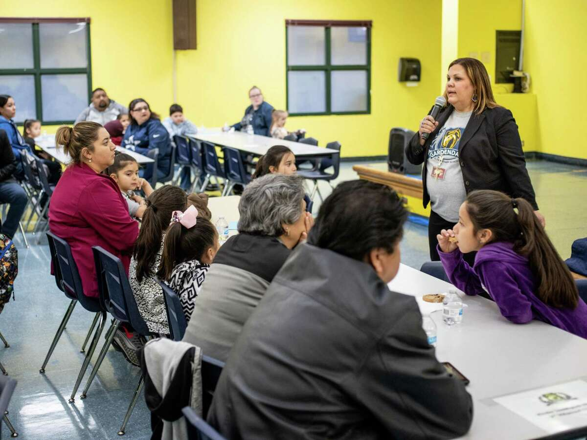 Principal of Gardendale Elementary Kristin Willmann speaks to her students' parents during an event at Gardendale Elementary meant to introduce parents and their children to the new partnership between Gardendale and Pre-K 4 SA, in Edgewood ISD on Thursday, January 24, 2019. The event was held to answer parents' questions and to introduce Pre-K 4 SA's plan for Gardendale Elementary's future programs, facilities and school enrollment.