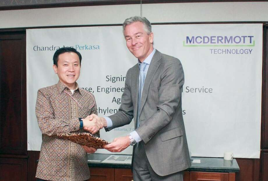 Officials with Jakarta petrochemical company PT Chandra Asri Perkasa and Houston oil field service company McDermott International have signed a technology and engineering contract to build ethylene cracking heaters at an ethylene plant in Cilegon, Indonesia. Photo: McDermott International