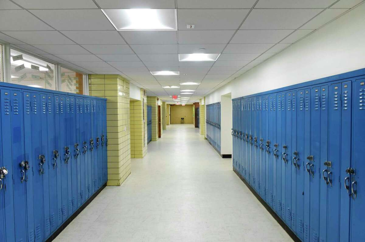 The downstairs wing at Trinity Catholic High School in Stamford.