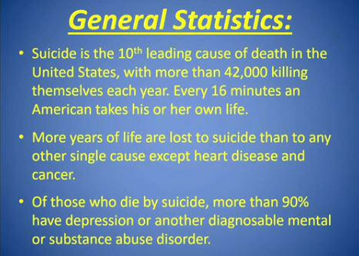This slide was shown at a meeting of The Woodlands Township Board of Directors on Jan. 23, 2019, when Montgomery County Judge Wayne L. Mack and local suicide awareness advocate Kim Hess - whose daughter Cassidy died by suicide - spoke to the board about the problem and how county leaders can help stop the trend and intervene when people need mental health care. One year later, the Montgomery County Behavioral Health and Suicide Prevention Task Force that was created out of those discussions has had great success, Mack said on Feb. 26, 2020.