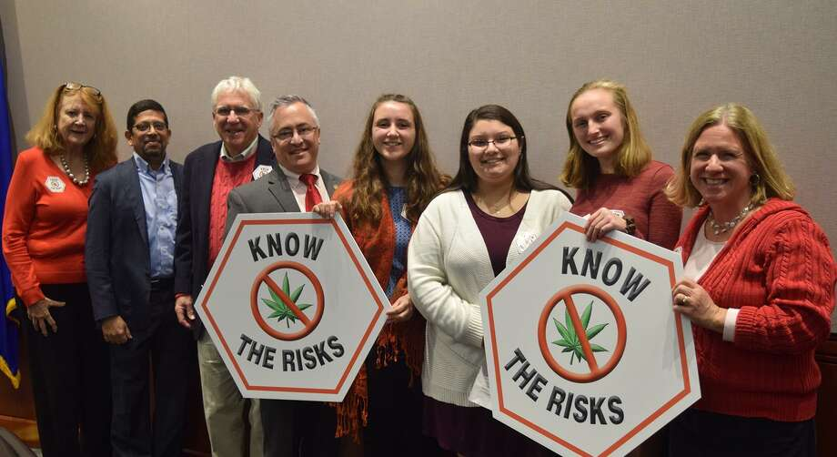 From left are state Rep. Noreen Kokoruda, R-Madison; Dr. Deepak Cyril D'Souza, professor of psychiatry, Yale School of Medicine; William Huhn, Connecticut Chapter of Smart Approaches to Marijuana spokesperson; state Rep. Vincent Candelora, R-North Branford; Guilford High School senior Elizabeth Abernathy, and sophomores Julia Rubbo, Kiera Stankewich and Lisa Ott. Photo: Contributed Photo