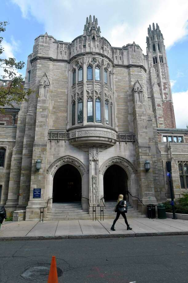 New Haven , Connecticut - Wednesday, October 24, 2018: The front of the Yale University Law School Wednesday where a spray painted stencil graffiti quoting Christine Blasey Ford was removed recently. Photo: Peter Hvizdak / Hearst Connecticut Media / New Haven Register