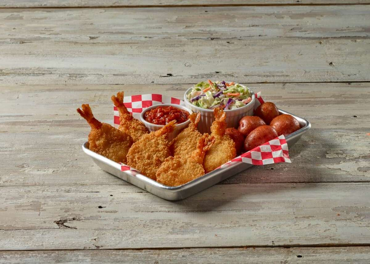 Fried Shrimp Basket with seasoned potatoes and coleslaw at True Texas Boil House.