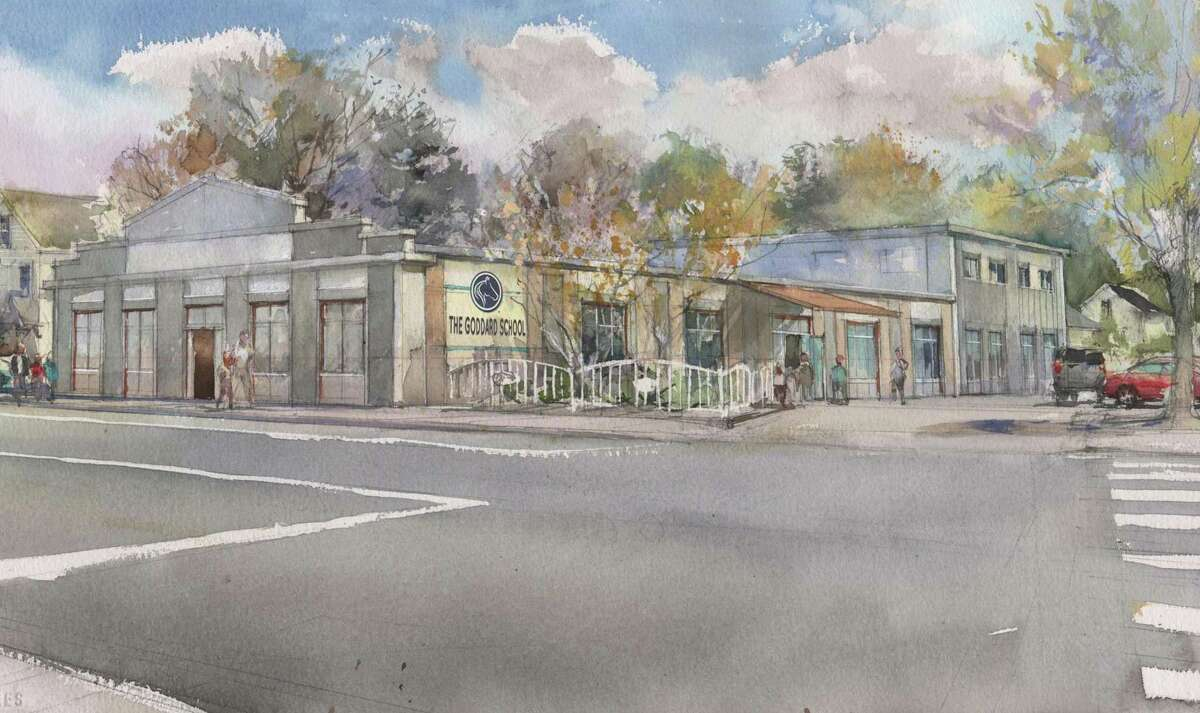 Renderings of the new Goddard School slated for the former IGA Supermarket at 1290 Stratfield Road.