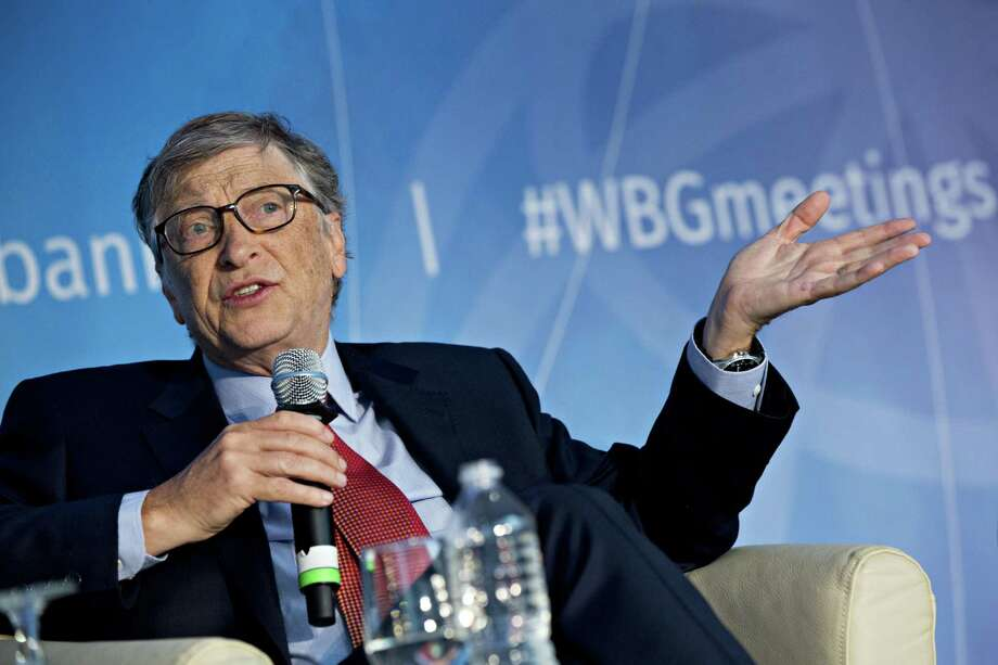 Bill Gates, billionaire and co-chair of the Bill and Melinda Gates Foundation, speaks during a panel discussion at the spring meetings of the International Monetary Fund and World Bank in Washington, D.C., on April 21, 2018. Photo: Bloomberg Photo By Andrew Harrer / © 2018 Bloomberg Finance LP