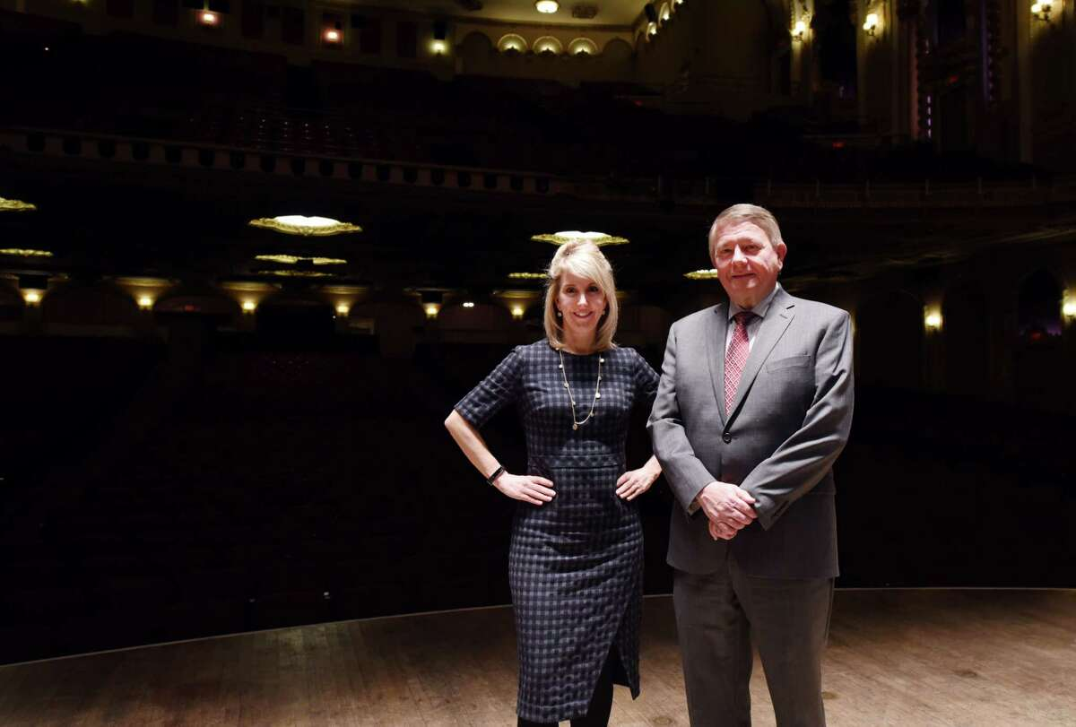 Palace executive director Susan Fogarty and Palace board chair Steve Baboulis stand for a portrait on the stage of the Palace Theater Thursday, Jan. 24, 2019 in Albany, N.Y. Keep clicking for past and present photos of Palace Theatre.