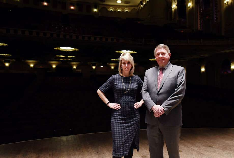 Palace executive director Susan Fogarty and Palace board chair Steve Baboulis stand for a portrait on the stage of the Palace Theater Thursday, Jan. 24, 2019 in Albany, N.Y. Keep clicking for past and present photos of Palace Theatre. Photo: Phoebe Sheehan, Albany Times Union / 40046026A