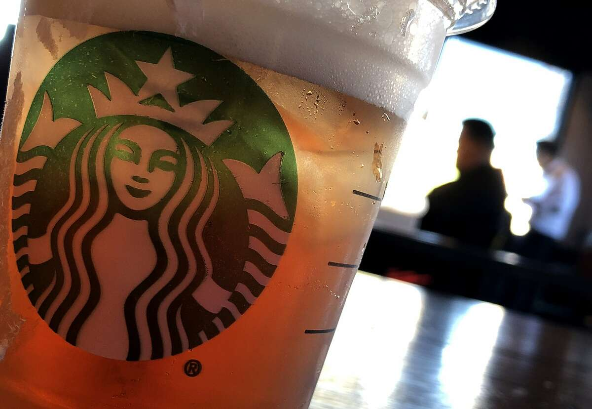 The Starbucks logo is displayed on a cup at a Starbucks Coffee shop on January 24, 2019 in San Francisco, California.