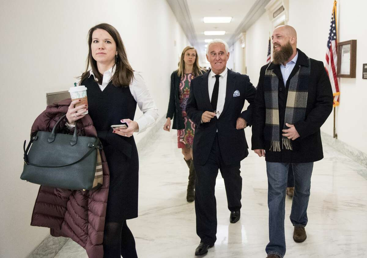 UNITED STATES - DECEMBER 11: Roger Stone arrives to watch Google CEO Sundar Pichai testify in the House Judiciary Committee's hearing on