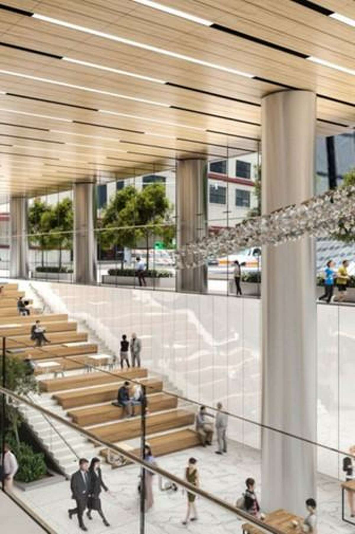 Waste Management plans to move their corporate employees to a new headquarters this year to 284,000 square feet in the Capitol Tower at 800 Capitol Street. Renderings show the common area of the Capitol Tower.