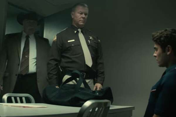 "A still from ""Extremely Wicked, Shockingly Evil and Vile,"" a film about Ted Bundy. This scene features an appearance by James Hetfield, of the famed rock band Metallica."