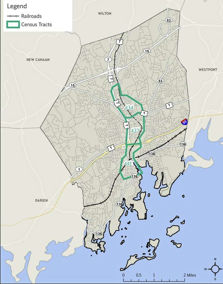 Norwalk's approved Opportunity Zones, highlighted in green. Photo: Contributed / Norwalk Redevelopment Agency