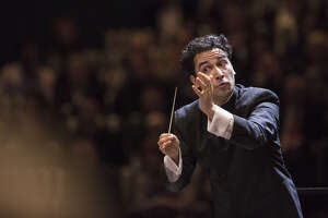 Houston Symphony Orchestra's Andres Orozco-Estrada, shown here in a 2017 performance, conducts the program this weekend.