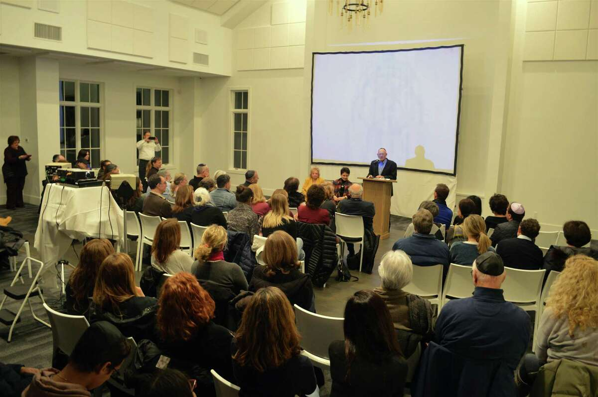 """About 75 people were in attendance at the screening of """"Complicit,"""" a documentary on the S.S. St. Louis, and a question-and-answer session that included two survivors, Thursday, Jan. 24, 2019, at Chabad Lubavitch of Westport, in Westport, Conn."""