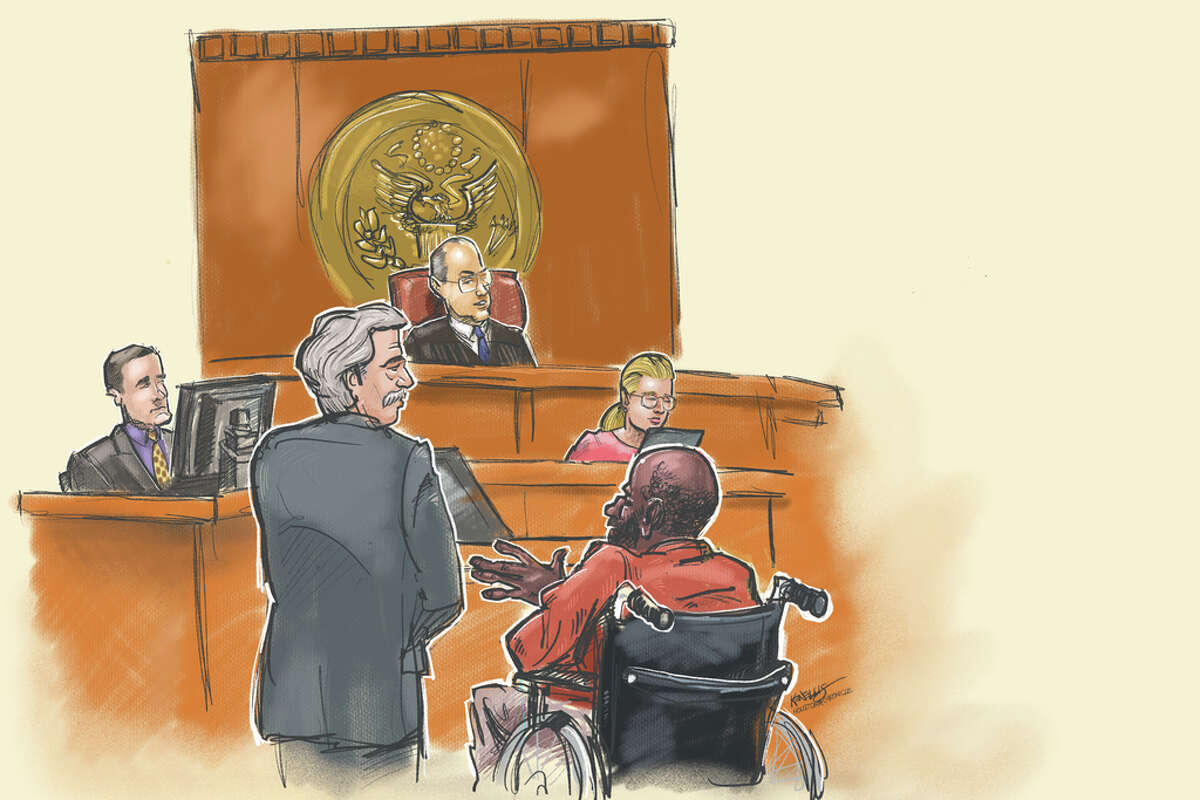 Warren Christopher Clark, right foreground in wheelchair, appears in Federal Court before U.S. Magistrate Judge Peter Bray. He was accompanied by his attorney Mike Degeurin. Courtroom sketch by Houston Chronicle artist Ken Ellis
