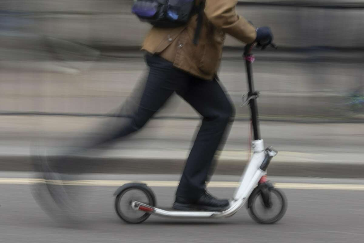 A tourist was spotted riding an electric scooter across the Bay Bridge on Wednesday night.