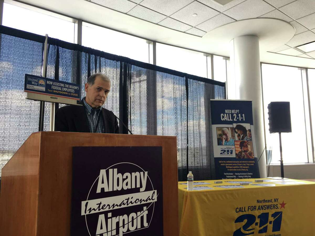 John O'Donnell, CEO of the Albany International Airport, addresses a small crowd during a press conference at the airport on Jan. 25. United Way and the Golub Corporation announced donations to federal workers affected by the federal government shutdown.
