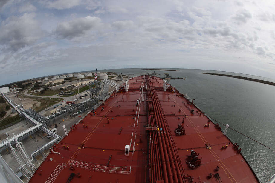 The view from on top of the Aral ship at the docked at Moda Ingleside Energy Center Friday, Jan. 25, 2019, in Ingleside. Houston marine terminal operator Moda Midstream LLC recently finished upgrades to a dock at the company's crude oil export terminal in Ingleside. A former naval base that received battleships and aircraft carriers, Moda's facility has received four Very Large Crude Carriers, or VLCC tankers, since December. Photo: (Steve Gonzales / Houston Chronicle)