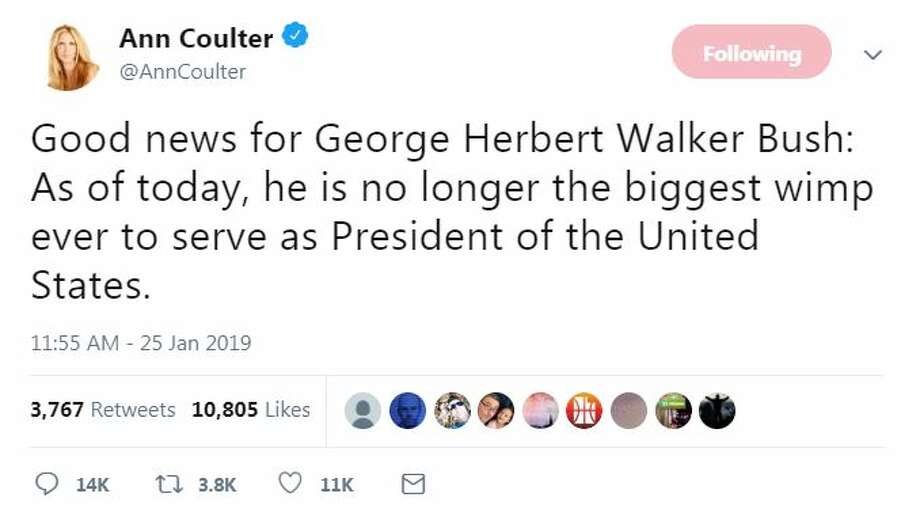 From @AnnCoulter: Good news for George Herbert Walker Bush: As of today, he is no longer the biggest wimp ever to serve as President of the United States. Photo: Twitter