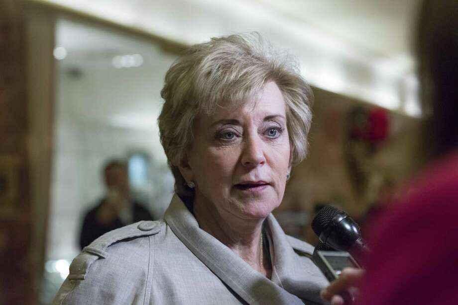 Linda McMahon speaks with the media following her meeting with President-elect Donald Trump at Trump Tower in New York on November 30, 2016. (Albin Lohr-Jones/Sipa USA/TNS) Photo: Albin Lohr-Jones / TNS / Sipa USA