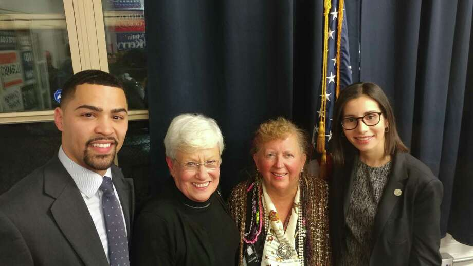 Officers for the 2019-20 Connecticut Democratic Party include Erick Russell of New Haven, vice chairman; former Lieutenant Governor Nancy Wyman of Tolland, chairman; incumbent secretary Audrey Blondin of Litchfield; and treasurer Eloisa Melendez of Norwalk. Photo: Audrey Blondin / Contributed Photo