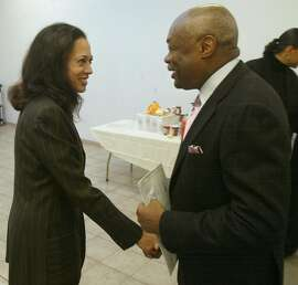 46FB0025.JPG  Event on 11/25/03 in San Francisco. Mayor Brown shakes hands with DA candidate Kamala Harris after she spoke to the minister's at their breakfast.   Mayor Willie Brown at the minister's breakfast. Candidates Gavin Newsom and kamela Harris were also there.  LIZ MANGELSDORF / The Chronicle