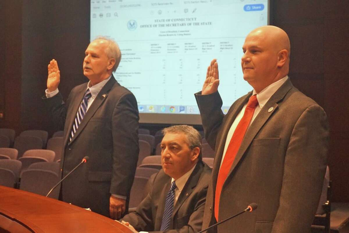 (L to R): Stratford Democratic Registrar of Voters Rick Marcone, attorney Bryan L. LeClerc and Republican Registrar of Voters Lou Decilio appeared before the General Assembly's Committee on Contested Elections on Thursday January 24, 2019 at the Legislative Office Building in Hartford, Conn. LeClerc is representing the town of Stratford.