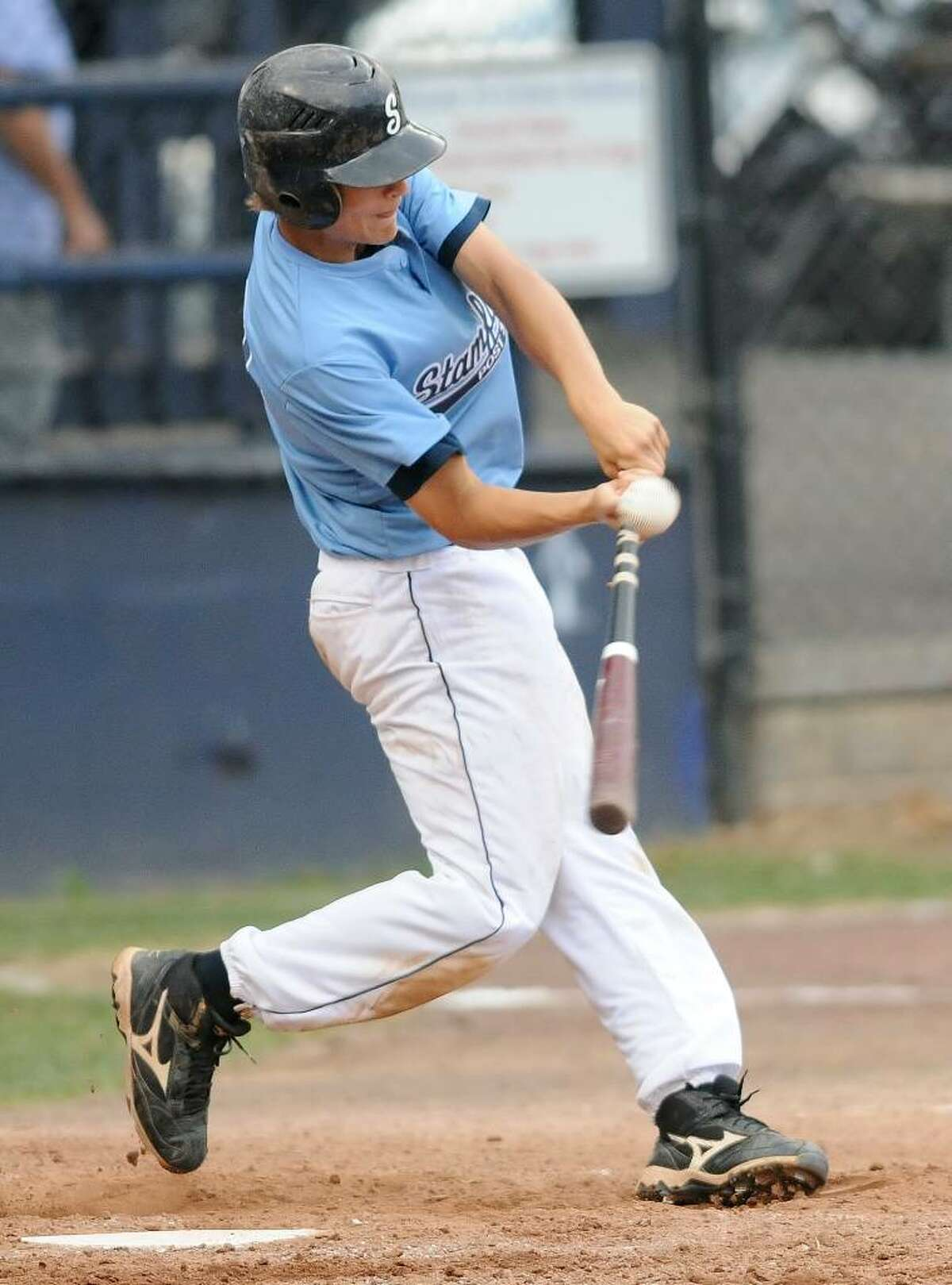 Stamford's Ryan Curto connects during an American Legion state tournament game at Cubeta Stadium in Stamford on Wednesday, July 21, 2010. Stamford faced off against Simsbury.