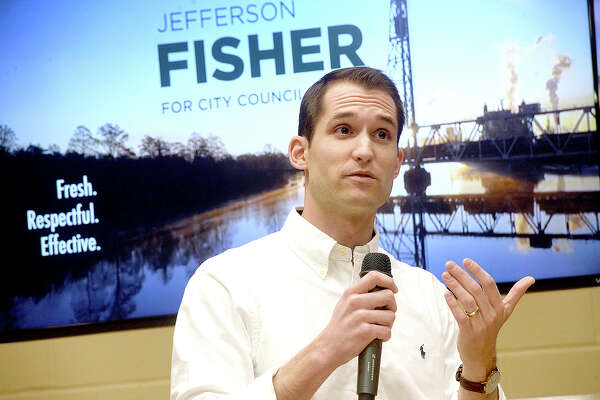 Jefferson Fisher addresses the gathering as he announces his upcoming election bid to run for the Ward 2 Beaumont city council seat currently occupied by Mike Getz. The announcement took place at Rogers Park Community Center Thursday. Photo taken Thursday, January 24, 2019 Photo by Kim Brent/The Enterprise