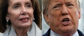 """(COMBO) This combination of file pictures created on January 17, 2019 shows a photo taken on January 9, 2019, of US Speaker of the House Nancy Pelosi , in Washington, DC and a photo taken on January 14, 2019, of US President Donald Trump in Washington, DC. - President Donald Trump insisted January 23, 2019 that his State of the Union speech next week will take place in the chamber of the lower house of Congress, regardless of the Democratic speaker's attempt to disinvite him. The spat about where the annual political set-piece will be staged is a sideshow to the struggle between the White House and Democrats in Congress over the now 33-day partial government shutdown.Trump wrote to Speaker Nancy Pelosi, saying: """"It would be so very sad for our Country if the State of the Union were not delivered on time, on schedule, and very importantly, on location!"""" (Photos by SAUL LOEB and Jim WATSON / AFP)SAUL LOEB,JIM WATSON/AFP/Getty Images"""