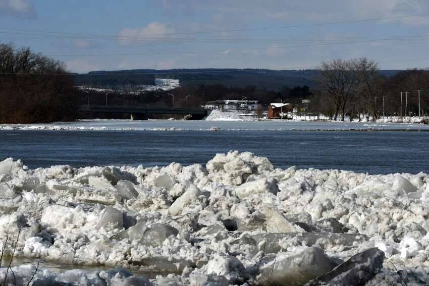 View of the Mohawk River from Riverside Park in the Stockade neighborhood on Friday, Jan. 25, 2019, in Schenectady, N.Y. Police said residents should prepare for flooding and be ready to evacuate if instructed. (Will Waldron/Times Union)