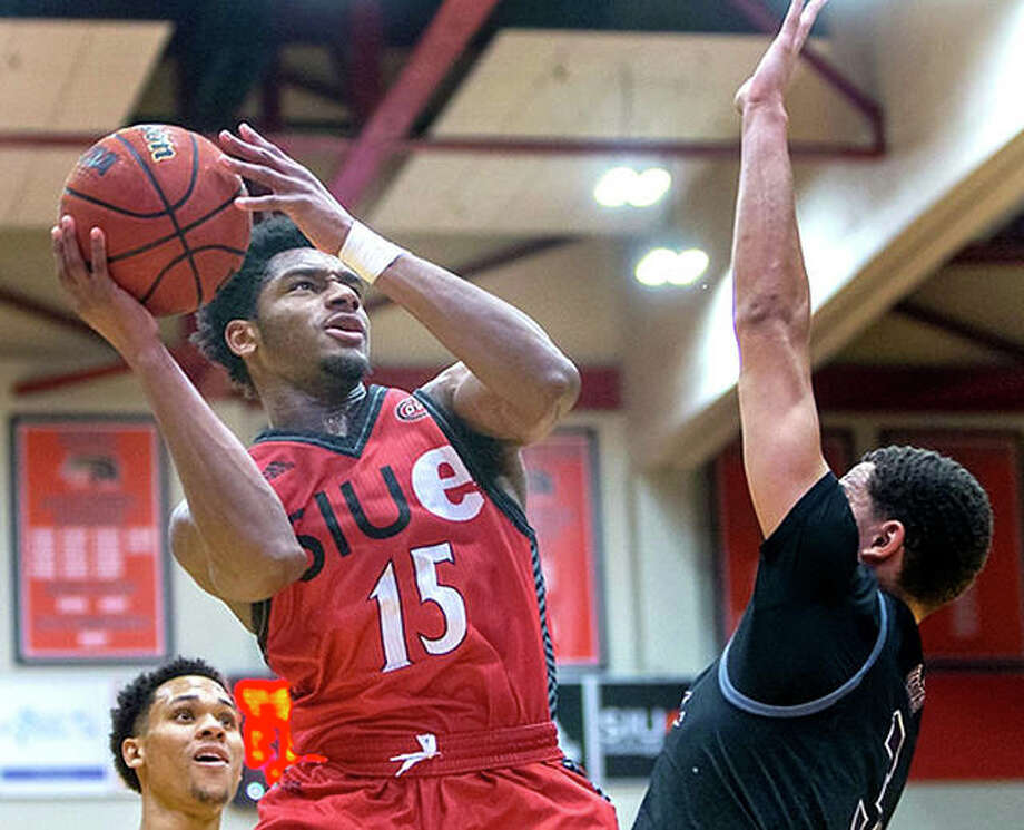 SIUE's David McFarland (15) scored 21 points inm the Cougars' triple-overtime win over Southeast Missouri State Thursday night in Cape Girardeau. Photo: SIUE Athletics