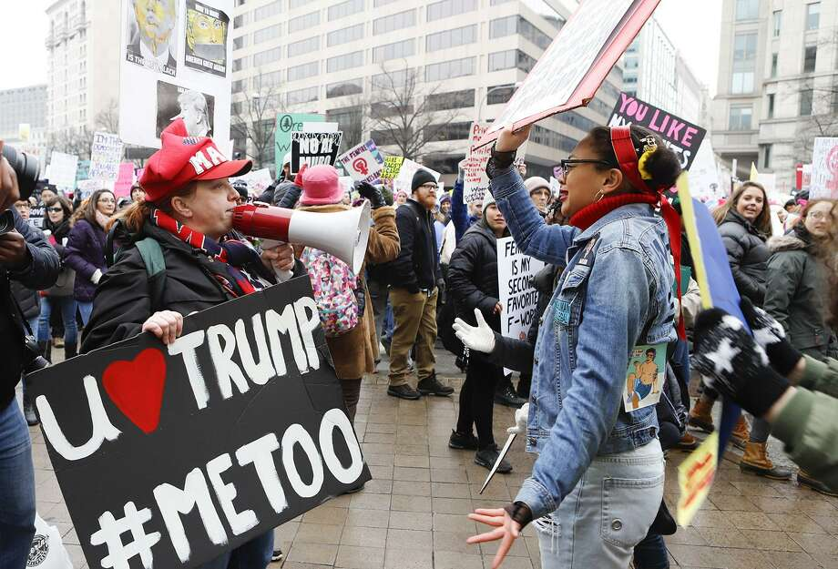A woman wearing a MAGA hat and shouting pro-Trump rhetoric argues with one of the participants of the Third Annual Women's March in Washington, D.C., Jan. 19. A reader discusses the importance of not letting partisan choices divide the nation. Photo: Darryl Smith /TNS / Tribune News Service