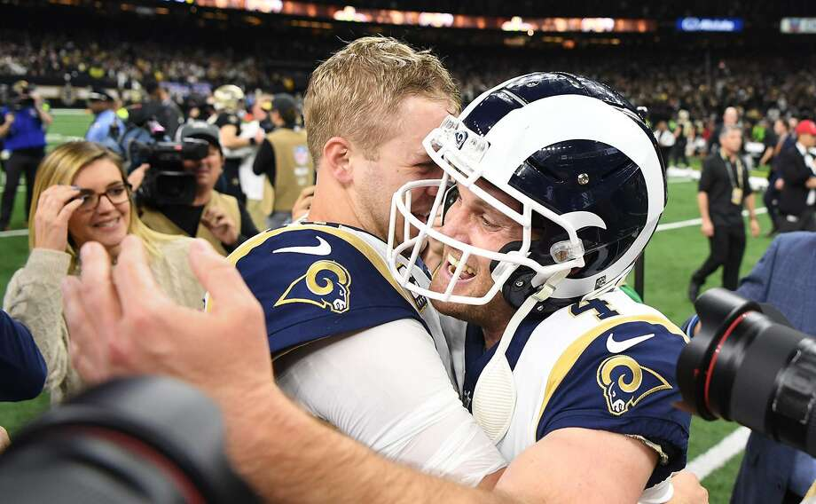 Los Angeles Rams quarterback Jared Goff hugs kicker Greg Zuerlein after defeating the New Orleans Saints in overtime on a field goal in the NFC Championship game on Sunday, Jan. 20 at the Superdome in New Orleans, La. Photo: Wally Skalij /TNS / Los Angeles Times